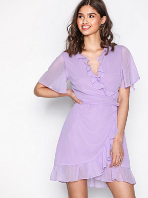 Glamorous Short Sleeve Wrap Dress Lilac