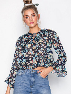 Topshop Floral Print Frilled Ruffle Blouse Navy