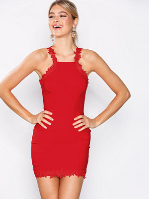 Rare London Crochet Trim Halter Dress Red