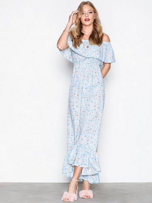 Missguided Bardot Ditsy Floral Maxi Dress Blue