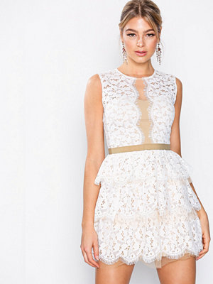U Collection Lace Sleeveless Dress Ivory/Nude