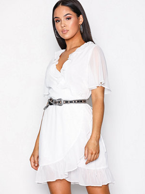 Glamorous Short Sleeve Wrap Dress White