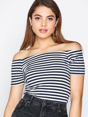 Only onlLIVE Love Stripe Ss Off Shoulder Mörk Blå