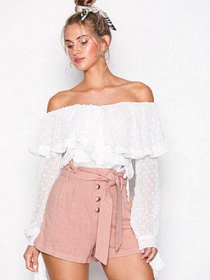 Topshop Linen Button Paper Bag Shorts Blush