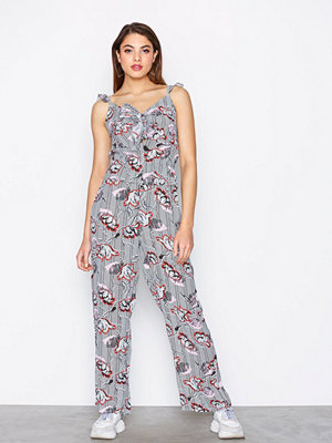 River Island Bow Front Jumpsuit Black Print