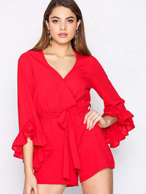 New Look Plain Ruffle Wrap Playsuit Red