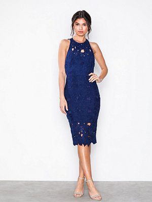 Missguided Crochet Lace Midi Dress Blue