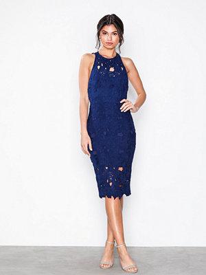 Missguided Crochet Lace Midi Dress Blue