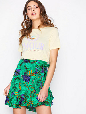 Kjolar - River Island Tie Wrap Mini Print Skirt Green