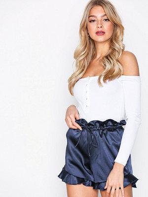 Missguided Satin Paperbag Waist Shorts Navy