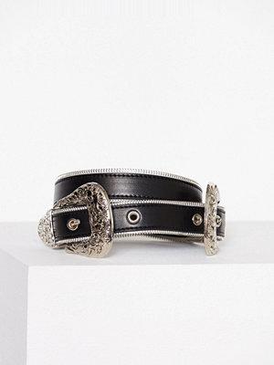 Missguided Zip Trim Double Western Belt Black