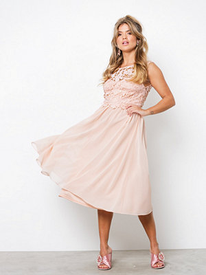 NLY One Lace On Top Midi Dress Ljus Rosa