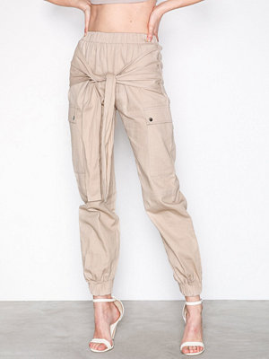 Missguided omönstrade byxor Tie Waist Utility Trouser Sand