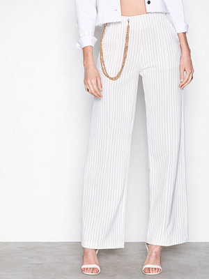 Missguided vita randiga byxor Stripe Chain Wide Leg Trousers White