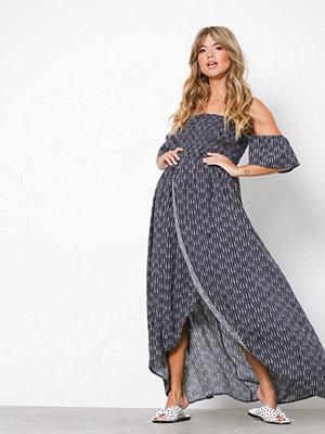 NLY Trend Long Smock Dress Mörkblå/Mönstrad