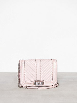 Rebecca Minkoff gammelrosa axelväska Chevron Quilted Small Love Crossbody Peony