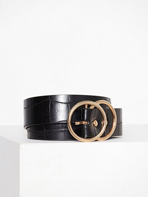 Bälten & skärp - River Island Double Ring Croc Jeans Belt Black