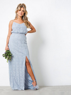 NLY Eve Simple Slit Gown Ljus Blå