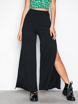 New Look svarta byxor Ribbed Flared Split Side Trousers Black