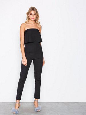 Missguided Bandeau Double Layer Jumpsuit Black