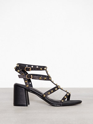 Missguided Studded Flared Heel Black