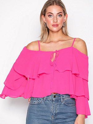 Glamorous Off Shoulder Flounce Top Fuchsia