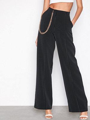 Missguided byxor Stripe Chain Wide Leg Trousers Black