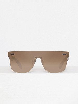 Missguided Flat Bar Lense Mirror Sunglasses Silver