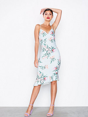 Missguided Bodycon Midi Dress Blue Floral