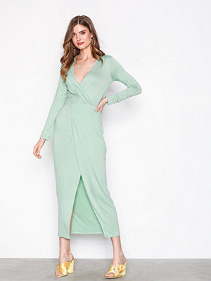 NLY Trend Long Sleeve Wrap Dress Mint