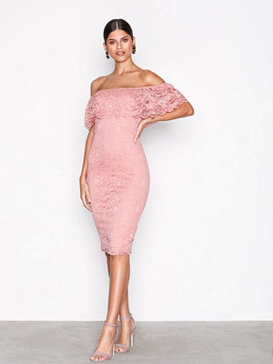 NLY One Lace Bardot Dress Rosa