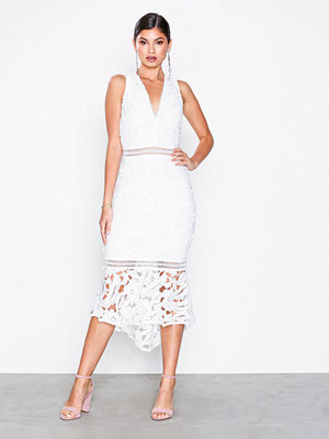 Missguided Crochet Fishtail Midi Dress White