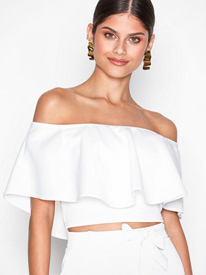 NLY One Frill Crop Top Vit