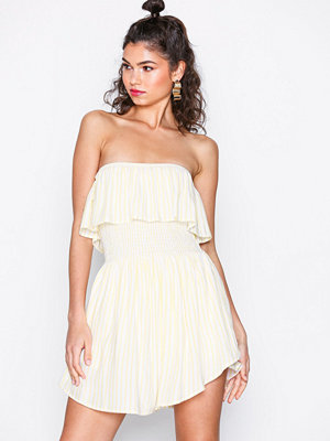 NLY Trend Frill Overlay Playsuit Gul/Randig