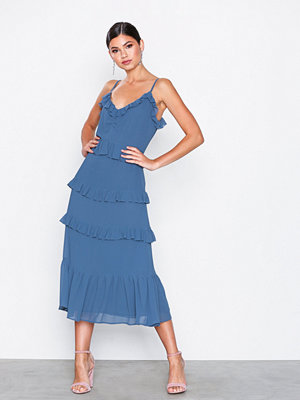 MICHAEL Michael Kors Mid Length Ruffle Dress Chambray