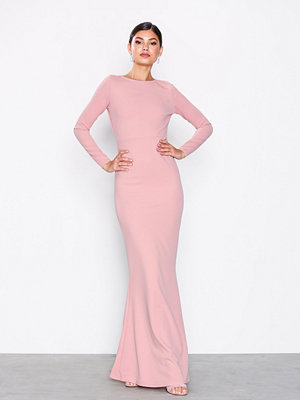 Missguided Long Sleeve Open Back Maxi Dress Blush