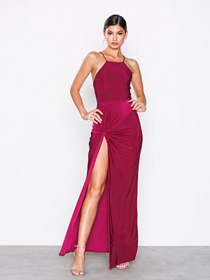 Missguided High Neck Tie Side Maxi Dress Red