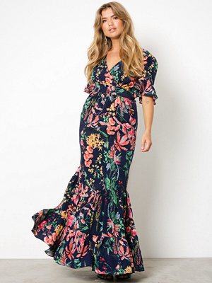 NLY Trend Exotic Long Dress Mörkblå/Mönstrad