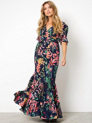 NLY Trend Exotic Long Dress Mörkblå/Mönstrad