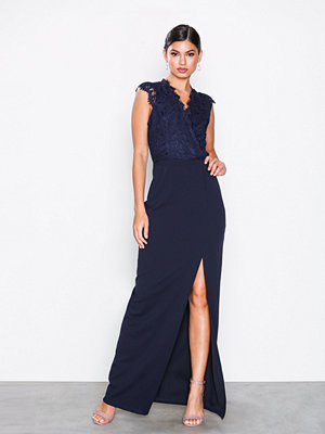 Ax Paris Eyelash Lace Maxi Dress Navy