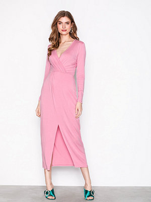 NLY Trend Long Sleeve Wrap Dress Rosa