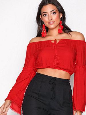 New Look Gypsy Crop Bardot Top Red