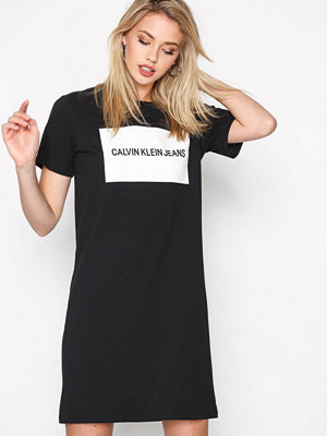Calvin Klein Jeans Institutional Box Logo T-Shirt Dress Black