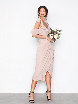 TFNC Elsa Midi Wrap Dress Pink