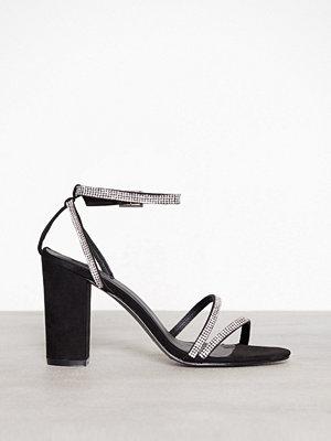 NLY Shoes Rhinestone Block Sandal Svart