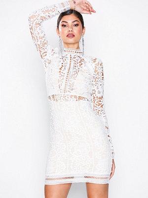 Missguided Crochet Long Sleeve Midi Dress White