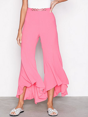 River Island omönstrade byxor Flare Trousers Pink