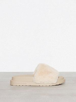 Tofflor - River Island Fur Slide Cream