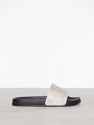 NLY Shoes Pool Slide Glitter Svart