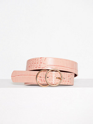 Bälten & skärp - River Island Double Ring Croc Jeans Belt Pink